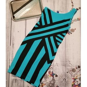 IDEA Dress OS Stretch Black Teal Mini One Shoulder